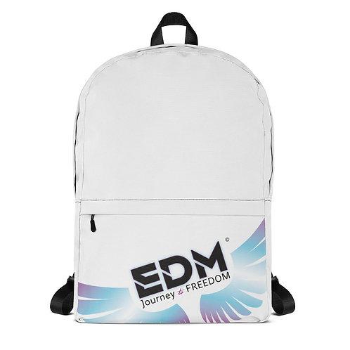Backpack White / Black EDM Journey to Freedom Print - Multi