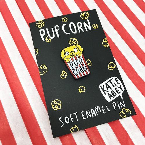 Pupcorn Dog Soft Enamel Pin by Katie Abey