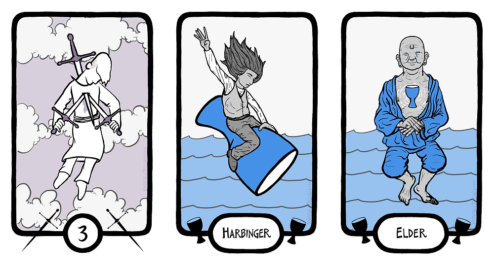 Three Tarot cards, side by side. On the left, the 3 of Swords, three swords piercing the heart of a sad knight. In the center, the Harbinger of Cups, a handsome human with long, flowing hair and closed eyes riding a giant chalice like a rodeo bull. On the right, the Elder of Cups, a buddha-like bald figure in loose clothing, smiling with tears in their eyes, and a chalice in place of their heart.