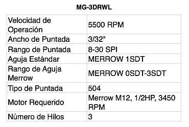 Tablas MG-3DRWL
