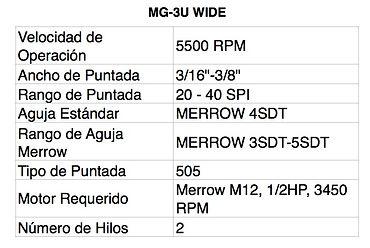 Tabla MG-3U WIDE