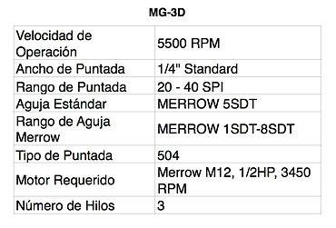 Tabla MG-3D