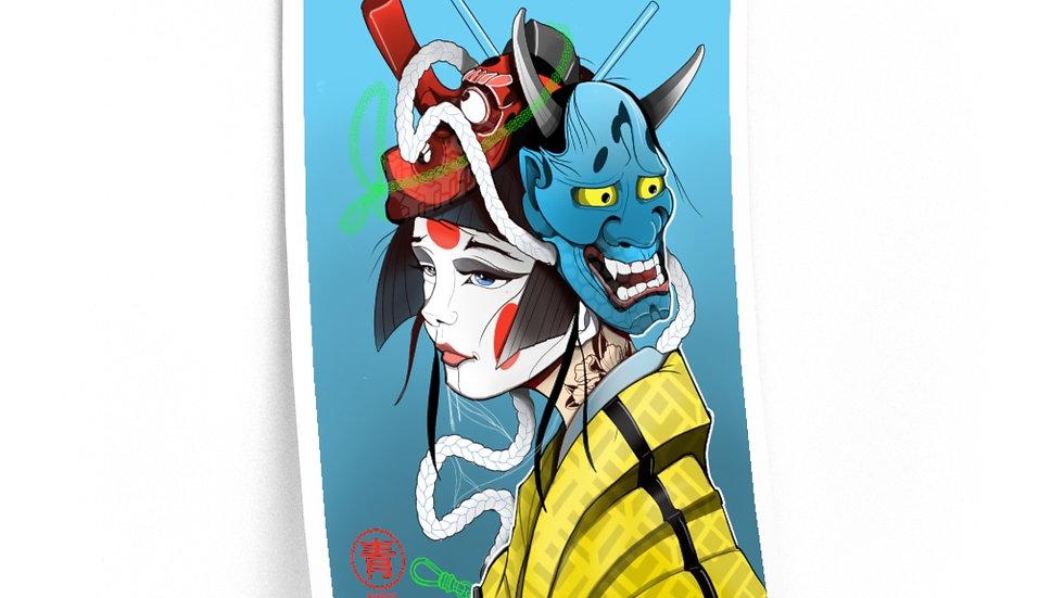 geisha girl print