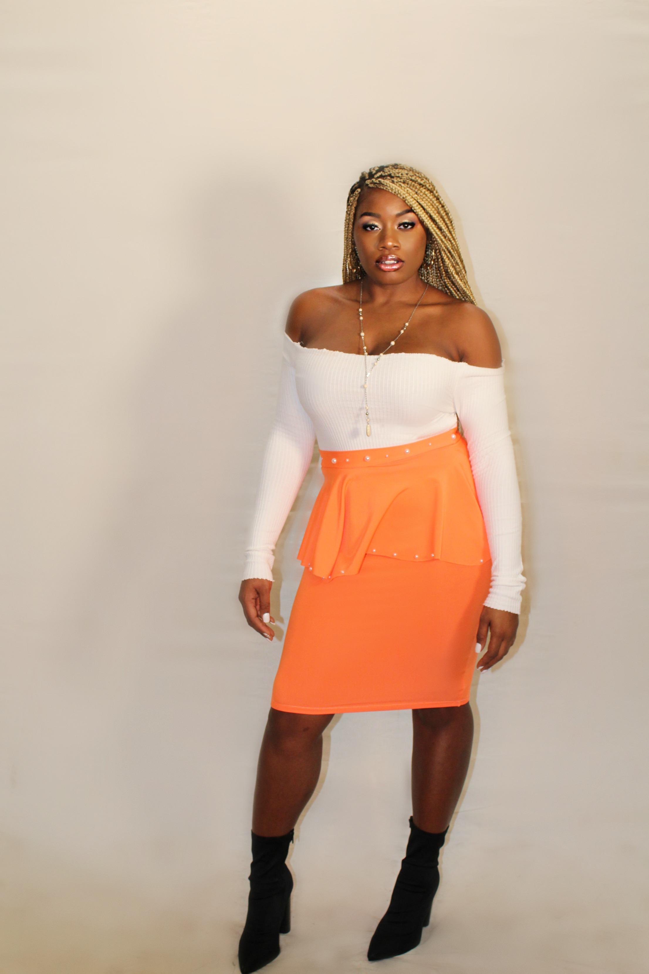 Shatina Orange Pearl Skirt Full front