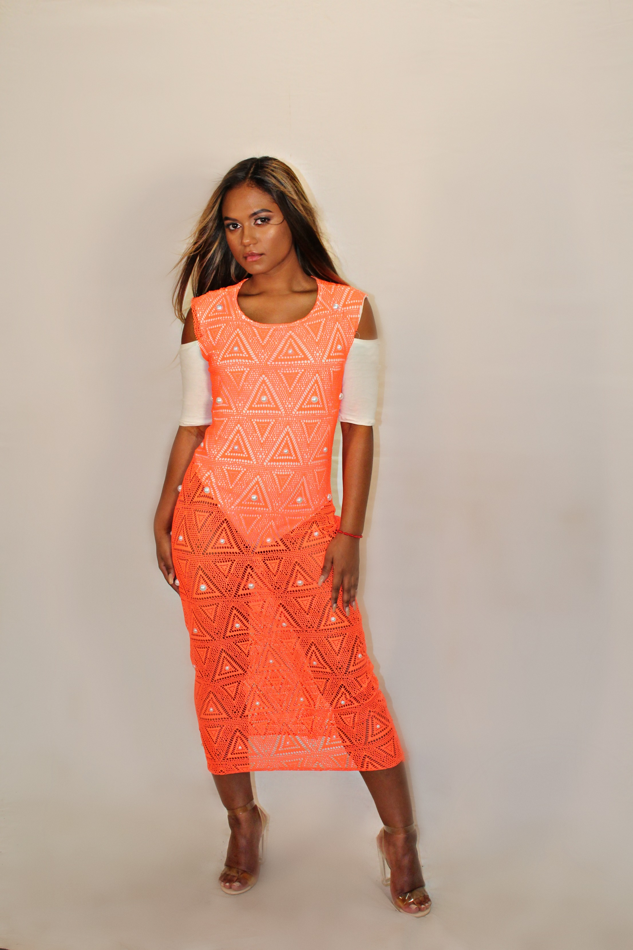 Jenny Pearl Orange dress