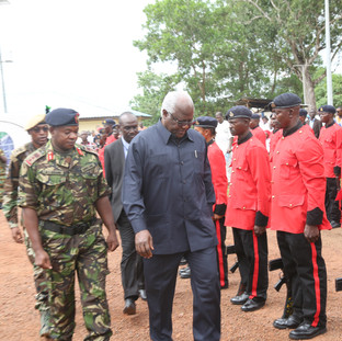 HE President Ernest Bai Koroma arrives at the launch of the President's Recovery Priorities