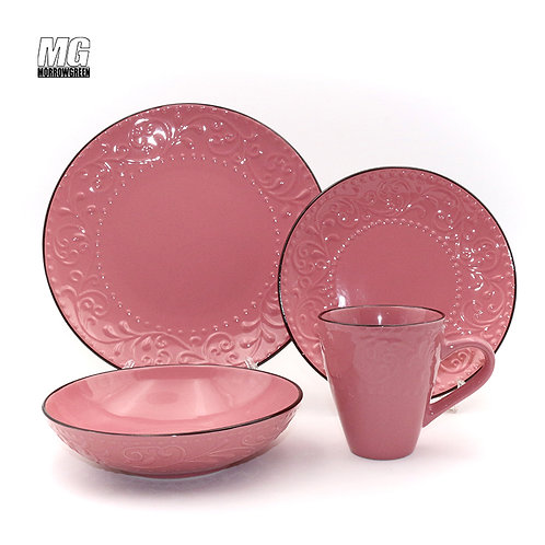 Embossed China factory color glaze ceramic stoneware dinner set with rim
