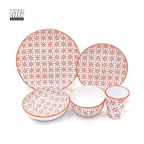 Wholesale 16 piece color printing stoneware ceramic dinner set,tableware set