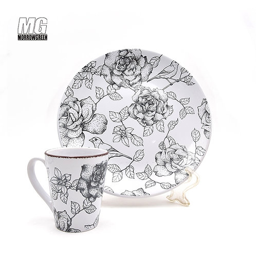 Stoneware diy round shape dinner set with printing bird and flower
