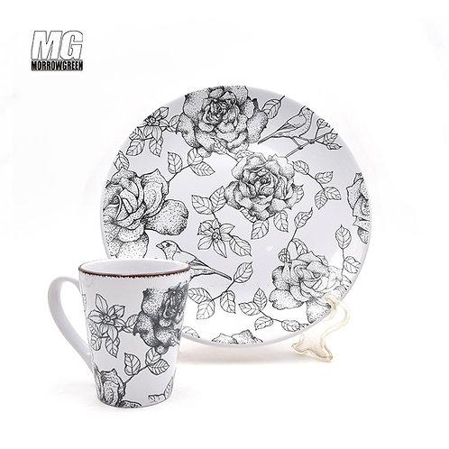 Stoneware diy round shape dinner set with printing bird and flower