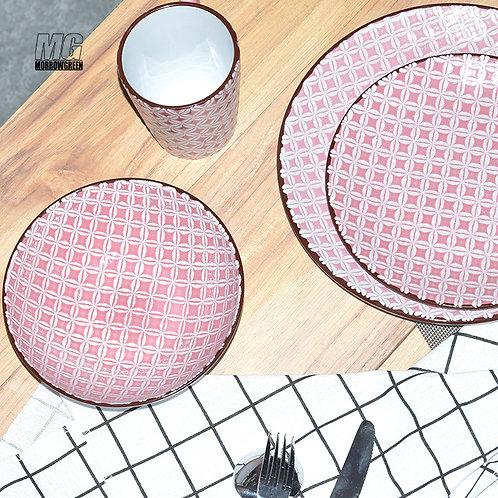 Tableware sourcin pattern colored crockery PAD printing dinner set for 4