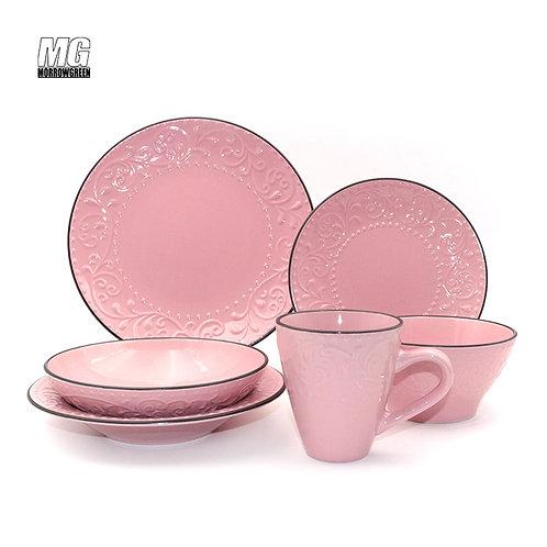 color glazed relief monochrome stoneware ceramic tableware set