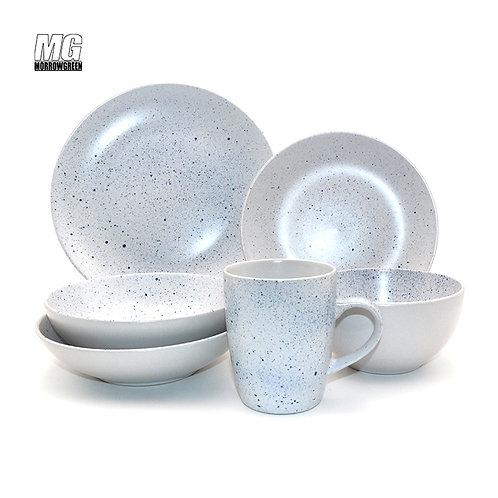 Ceramic stoneware dinner set with dot decor