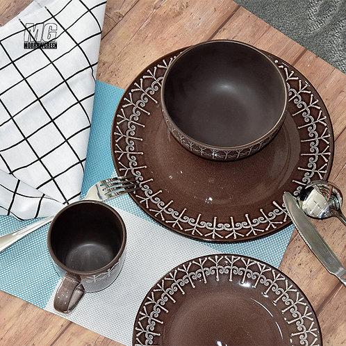Henan yisida Tableware Sets Glazed Stoneware Matt Pink and Green Ceramic Dinner