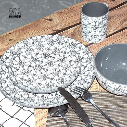 Antique classical pad print black and white pattern enamel crockery set
