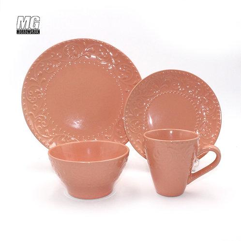 Chinese wholesale matte ceramic stoneware set relief