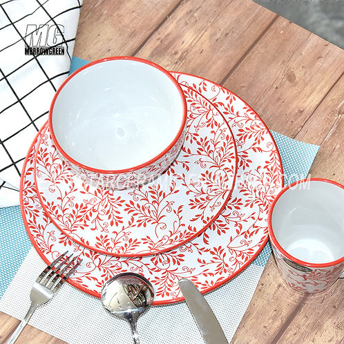 16-piece hot sale porcelain tableware print ceramic stoneware dinnerware set