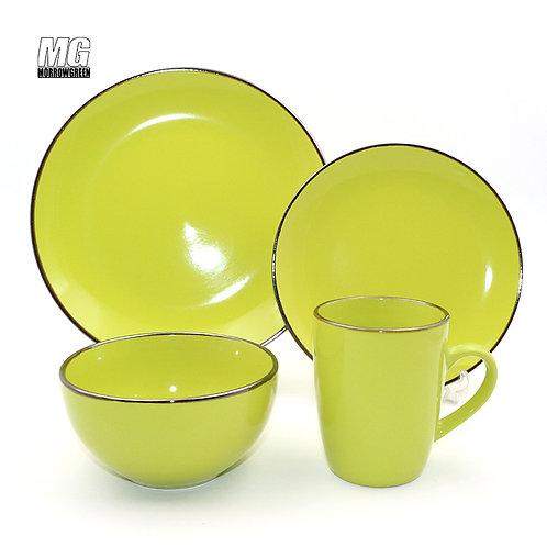 Color glaze tableware set ceramic stoneware dinner set with gold rim
