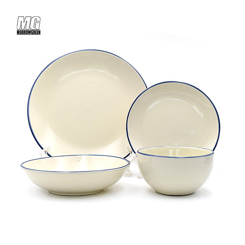 Henan yisida round shape ceramic stoneware plate and bowl set