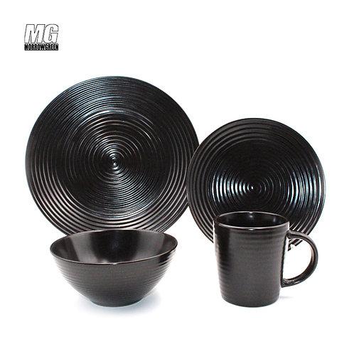 16pcs solid color glaze embossed ceramic dinner set