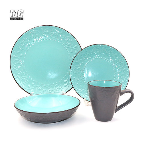 Color glazed embossing design ceramic stoneware dinner set