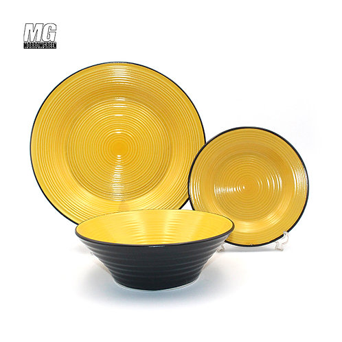 Two color glaze spiral embossed import dinnerware set