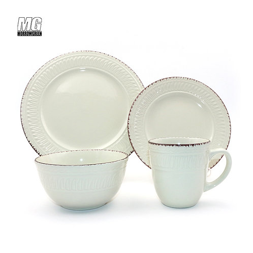 16 pieces milk white beige ceramic stoneware dinner set with emboss for 4 people