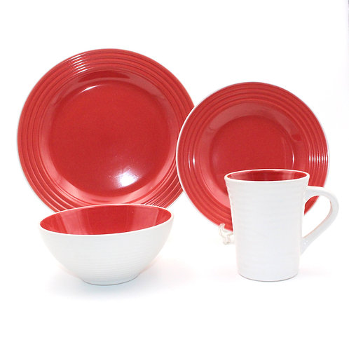 Embossed screw two tone red color ceramic stoneware dinnerware