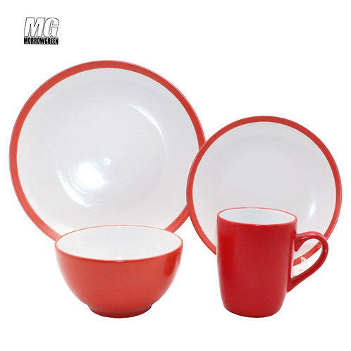Ceramic round shape glaze double color dinnerware set restaurant dinner set