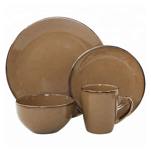 Chinese golden rim ceramic dinnerware sets ,color glazing luxury dinner set