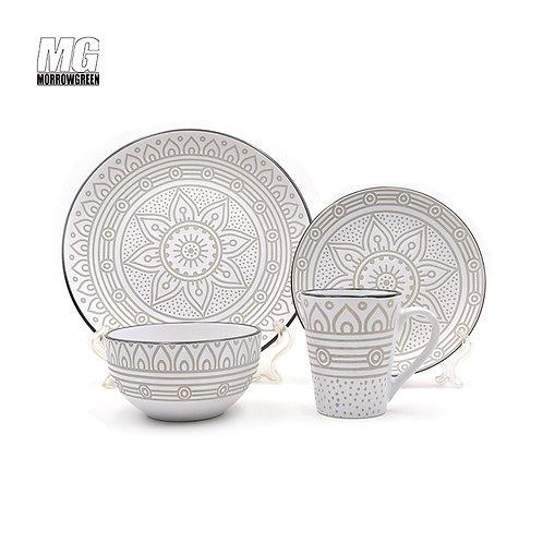 16pc matte printing stoneware dinnerset with round shape Alibaba China