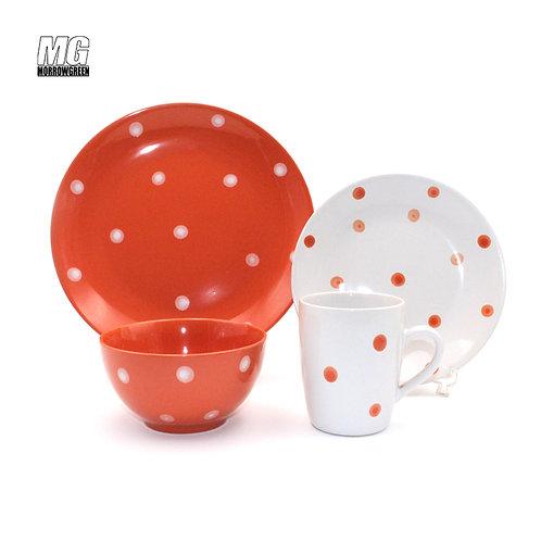 Chinese wholesale dot decoration color glaze ceramic stoneware set