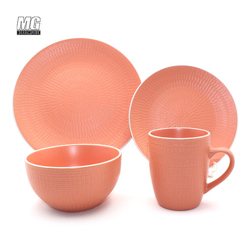 Ceramic stoneware corn embossed solid color dinner set