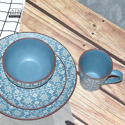 Wholesale 16 piece antique ceramic flower PAD printing matte unique dinnerware