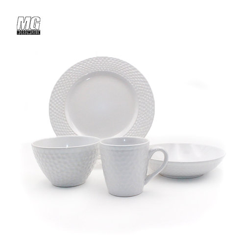 White Ceramic Dinner set serving dinnerware embossing dinnerware
