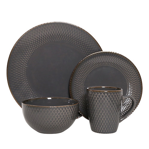 Geometry collection stoneware tabletop set with metallic rim glaze Nordic style modern embossed ceramic dinnerware