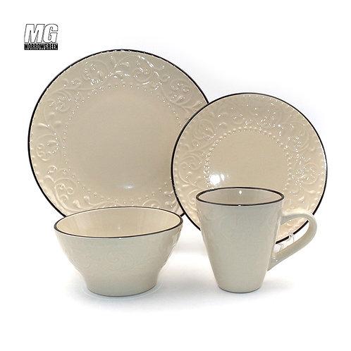 Black rim embossed ceramic stoneware dinner sets with embossment