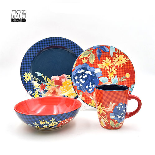 Ceramic factory outlet | Decal porcelain dinnerware set 16-piece
