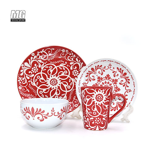 16pcs round shape stoneware ceramic with silk screen printing dinner set