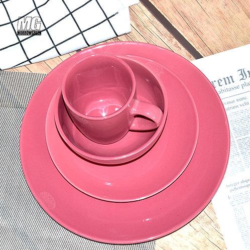 Customized solid color glazed stoneware 16 pcs dinnerware tableware set