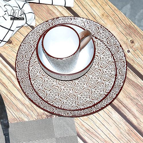 Chinese ceramic tableware supllier Color glazed crockery printig dinner set