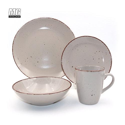 ceramic stoneware tableware set with brush rim