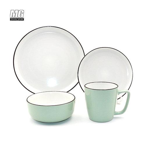 Two tone color glaze ceramic stoneware dinner set with rim