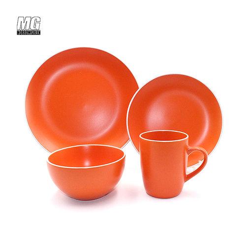 Chinese wholesale matte ceramic stoneware set with white rim