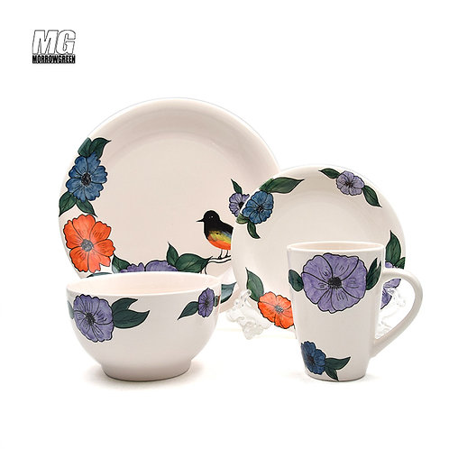 Ceramic dinnerware set with colorful decal
