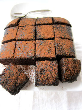Chocolate Brownies with Cocoa Sifting