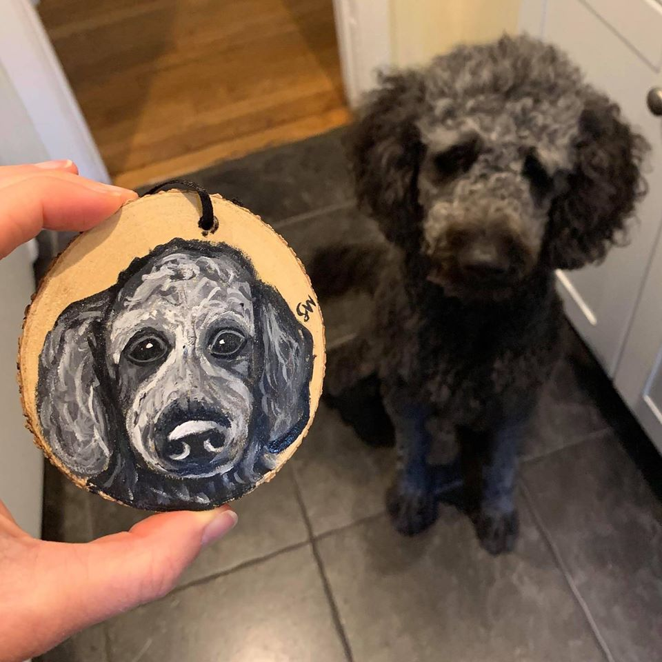 Spresso bean wood cookie holiday ornament Custom Pet Portrait Samm Wehman Art