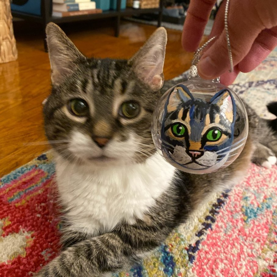 Cat ornament Custom Pet Portrait Samm Wehman Art