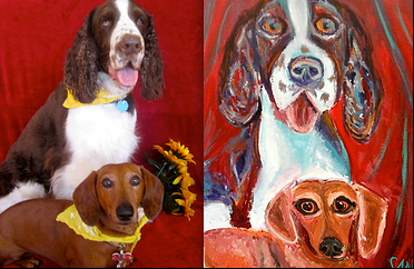 Custom Pet Portrait Samm Wehman Art Al and Weiner springer spaniel dachshund