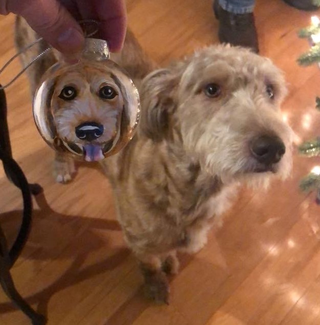 mixed breed holiday ornament Custom Pet Portrait Samm Wehman Art